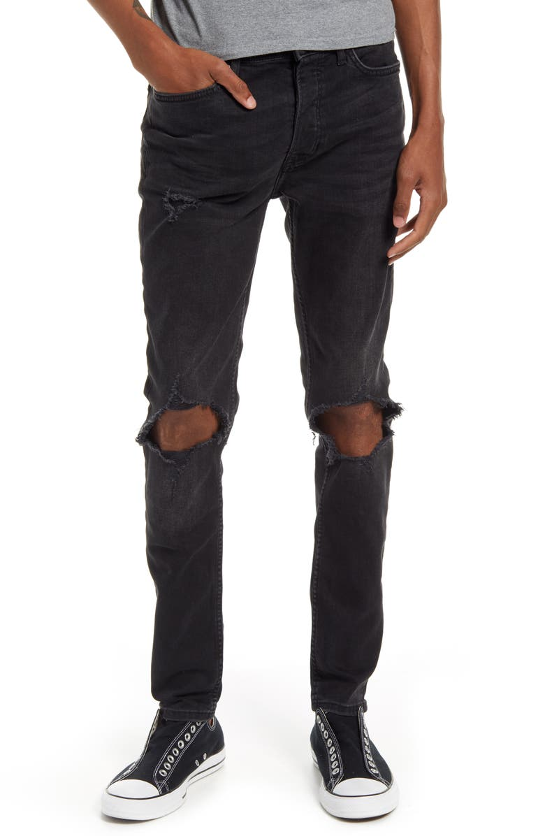 TOPMAN Blowout Ripped Skinny Jeans, Main, color, WASHED BLACK