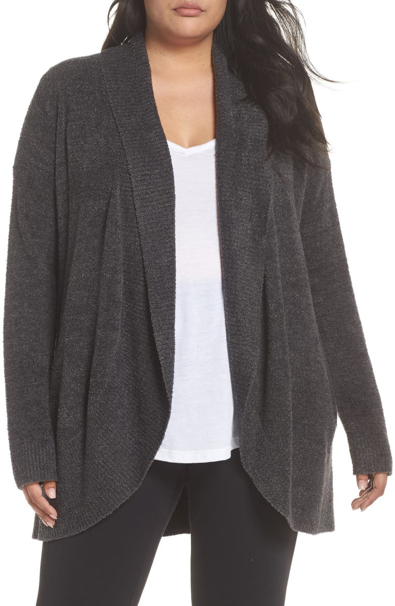 BAREFOOT DREAMS<SUP>®</SUP> CozyChic Lite<sup>®</sup> Circle Cardigan, Main, color, CARBON/ BLACK HEATHER