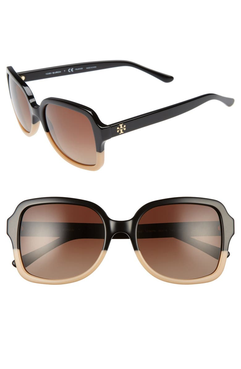TORY BURCH 55mm Polarized Sunglasses, Main, color, 001