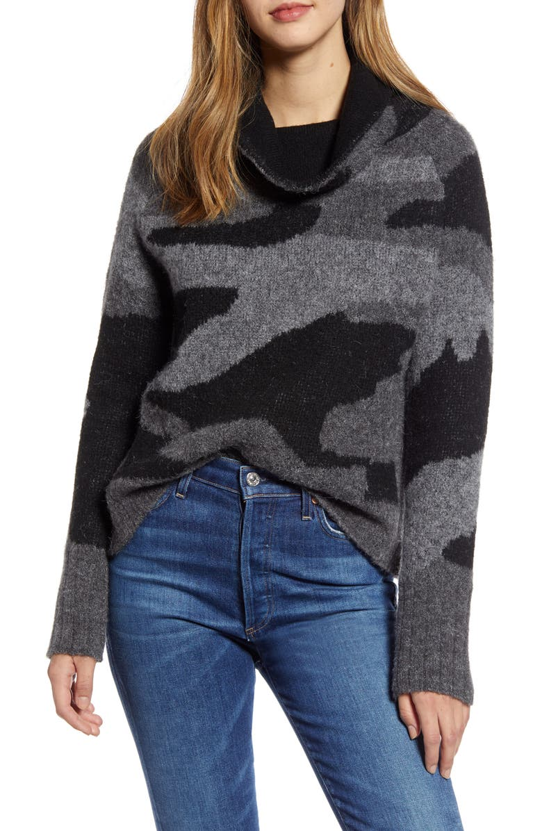 RD STYLE Camo Print Cowl Neck Sweater, Main, color, 020