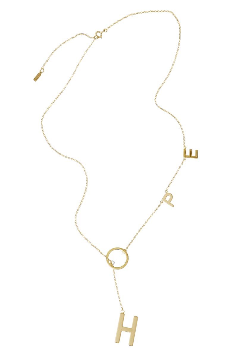 ADORNIA Hope Lariat Necklace, Main, color, YELLOW/ GOLD