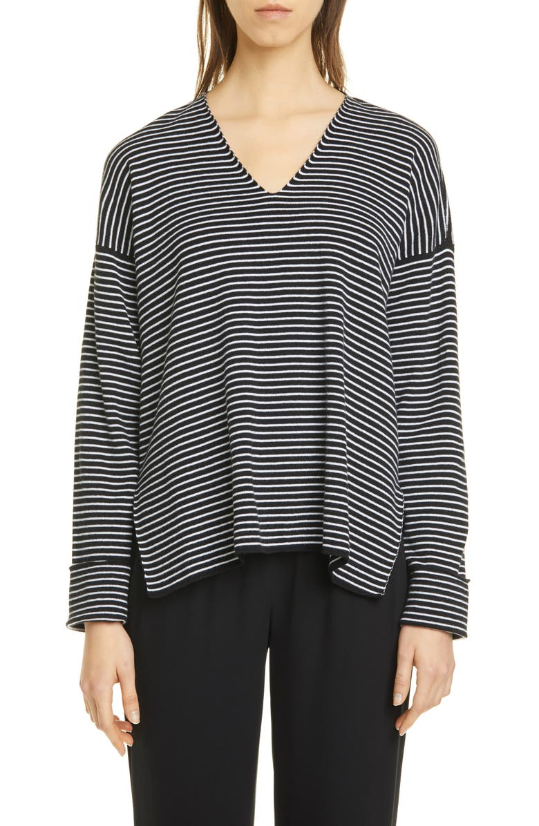 EILEEN FISHER Stripe V-Neck Box Top Sweater, Main, color, 018
