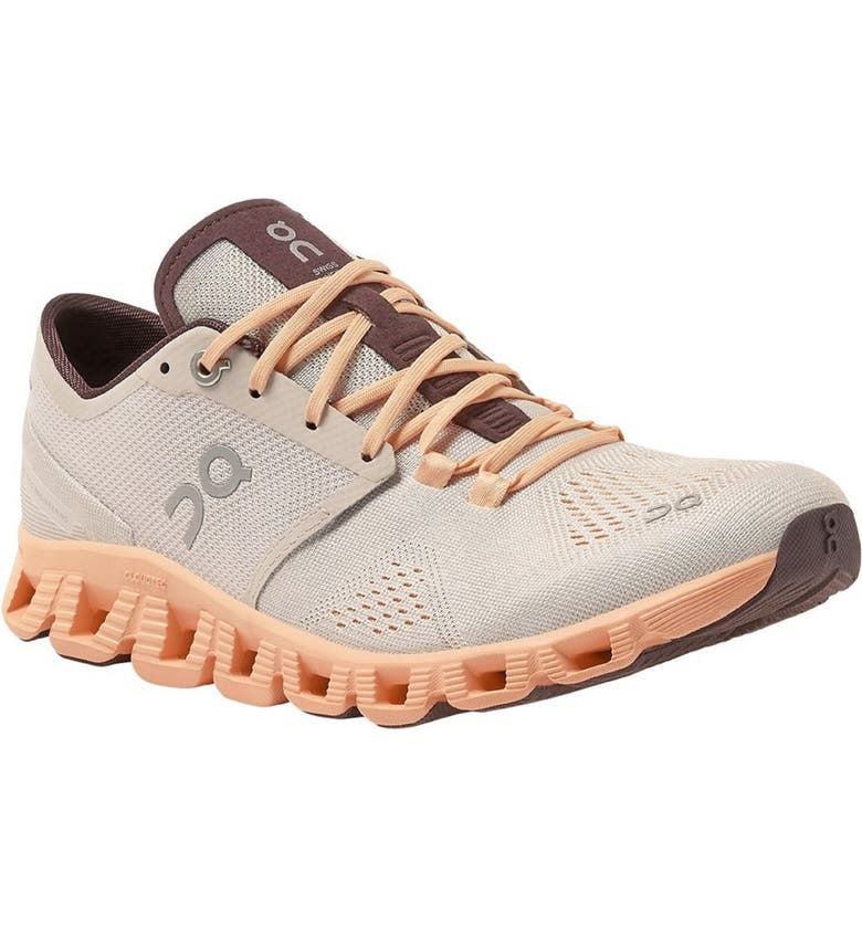 ON Cloud X Training Shoe, Main, color, SILVER/ ALMOND