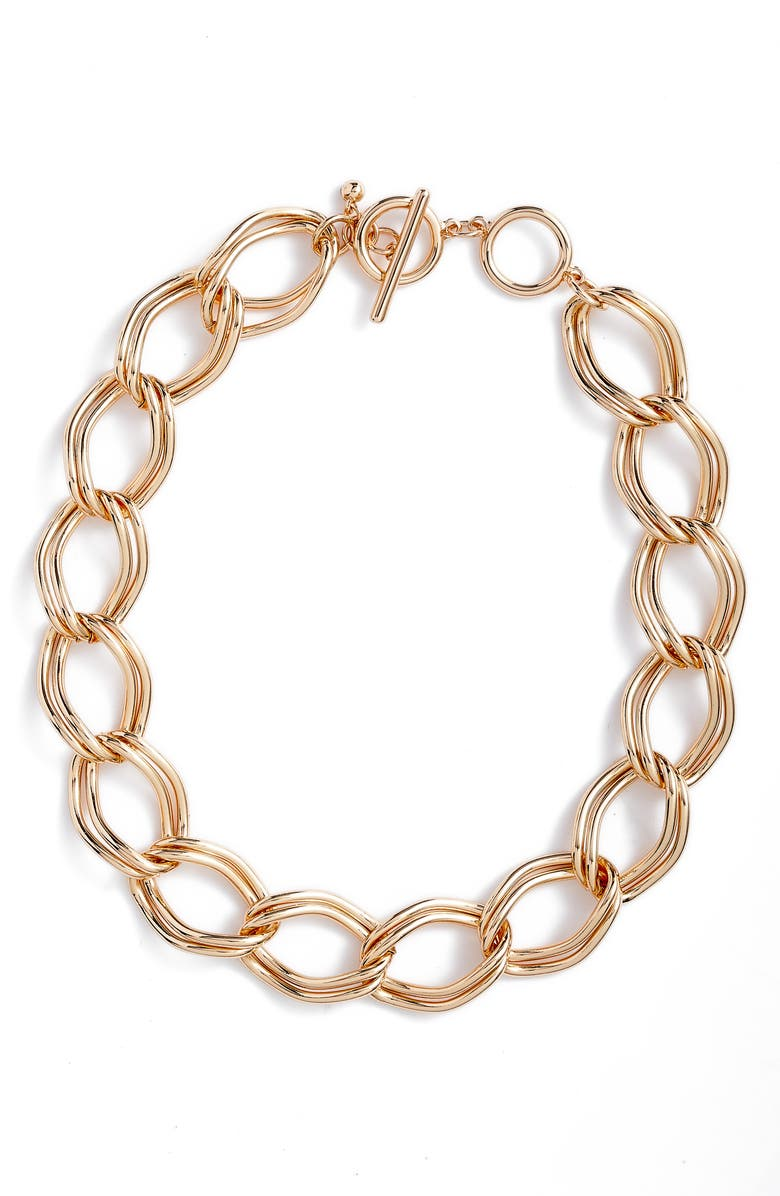 NORDSTROM Double Link Chain Collar Necklace, Main, color, GOLD