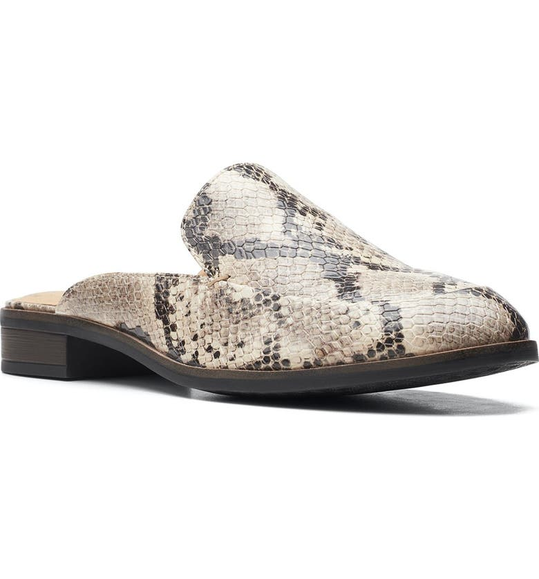 CLARKS Trish Snakeskin Embossed Mule - Wide Width Available, Main, color, TAUPE SNAK