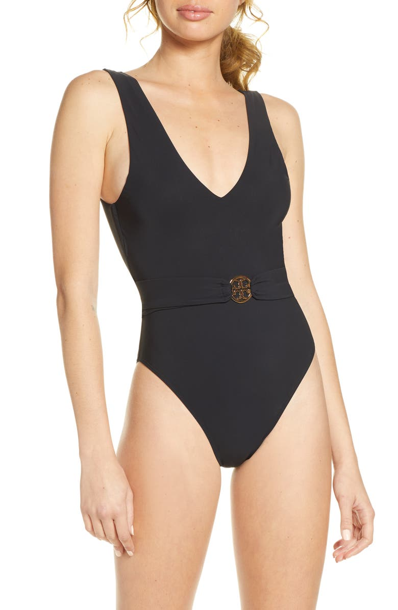 TORY BURCH Miller Plunge One-Piece Swimsuit, Main, color, BLACK