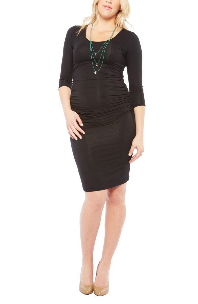 NOM MATERNITY Nom 'Ellie' Ruched Maternity Dress, Main, color, 001