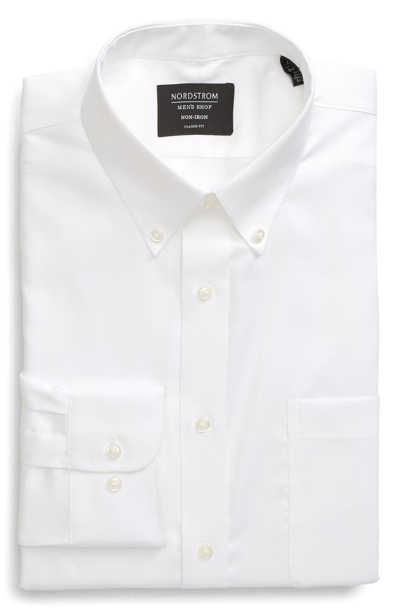 NORDSTROM Classic Fit Non-Iron Dress Shirt, Main, color, WHITE BRILLIANT