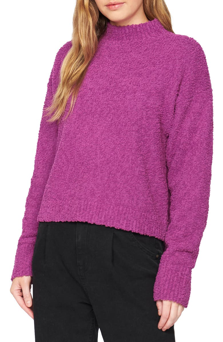 SANCTUARY Teddy Mock Neck Sweater, Main, color, MAGENTA