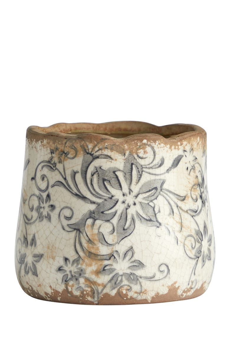 NEARLY NATURAL 4.5in. Tuscan Ceramic Gray Scroll Planter, Main, color, WHITE