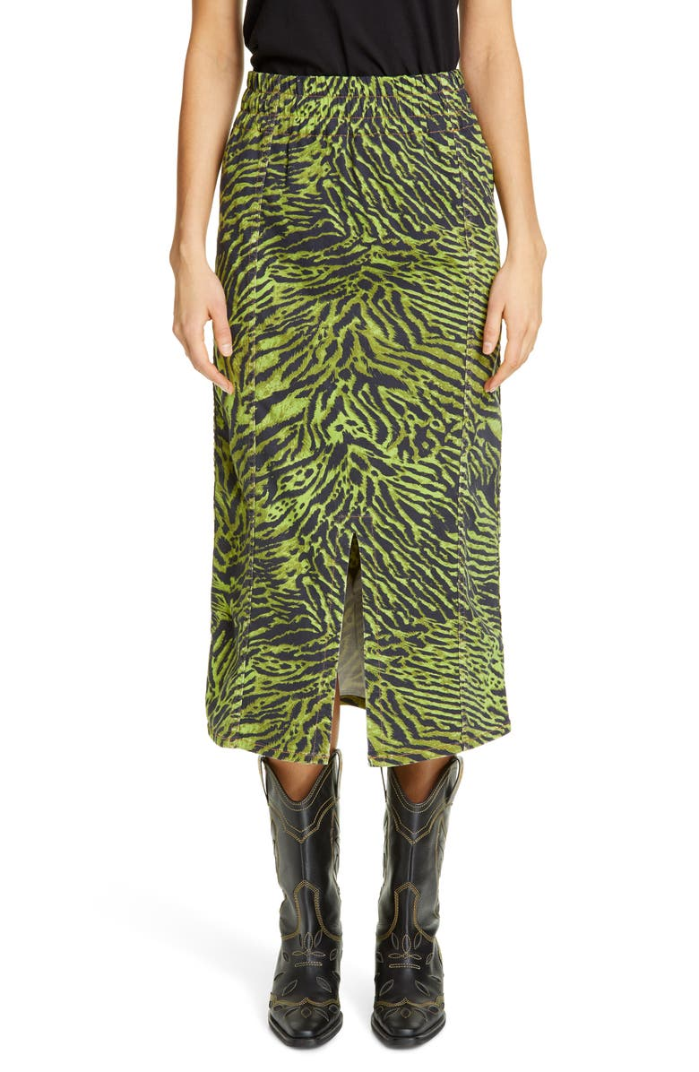 GANNI Tiger Print Denim Midi Skirt, Main, color, 300