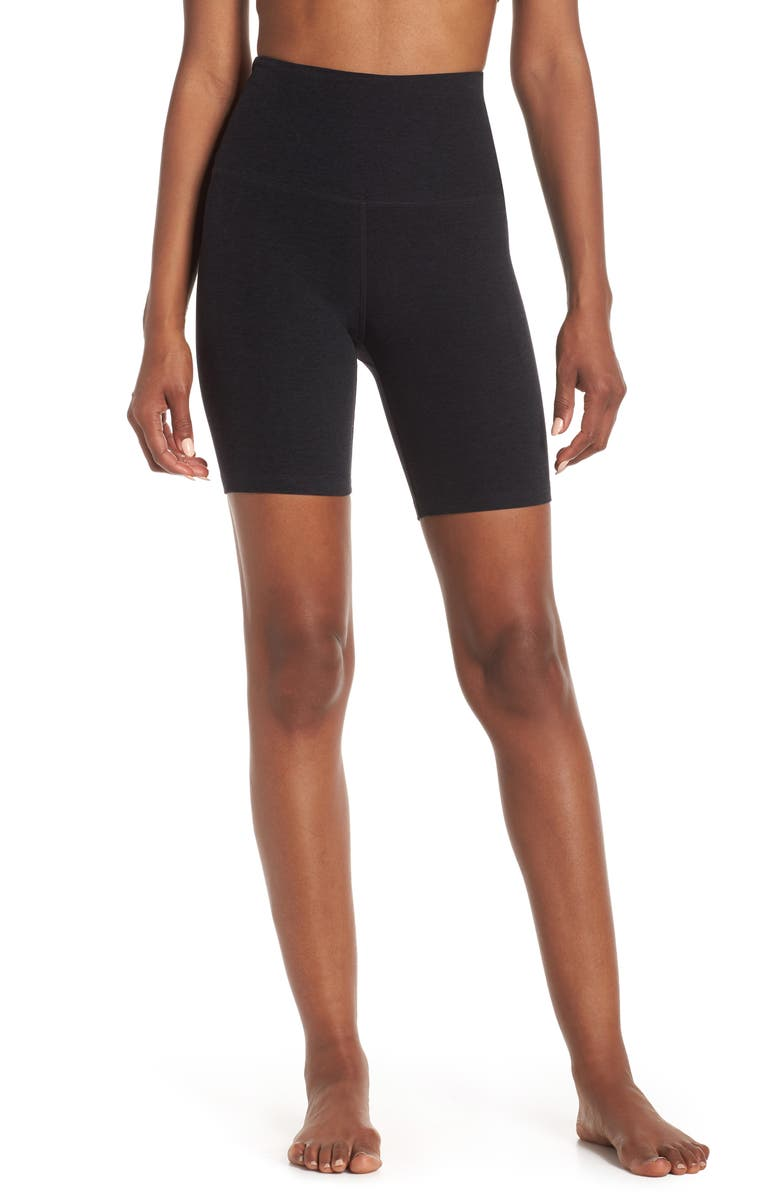 BEYOND YOGA High Waist Bike Shorts, Main, color, DARKEST NIGHT