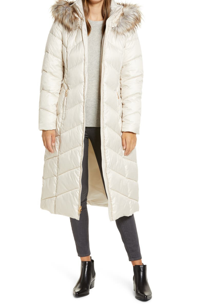 GALLERY Long Quilted Parka with Faux Fur Trim, Main, color, BIRCH