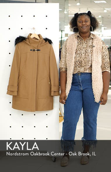 Wool Blend Twill Duffle Jacket with Faux Fur Trim, sales video thumbnail