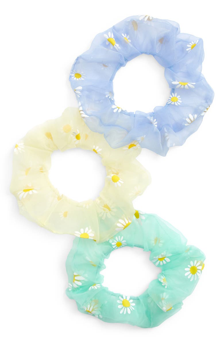 TUCKER + TATE Kids' 3-Pack Sheer Scrunchies, Main, color, YELLOW EMPIRE DAISY PACK