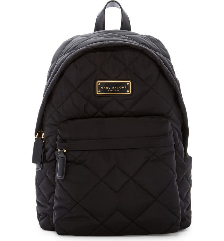 MARC JACOBS Quilted Nylon School Backpack, Main, color, BLACK