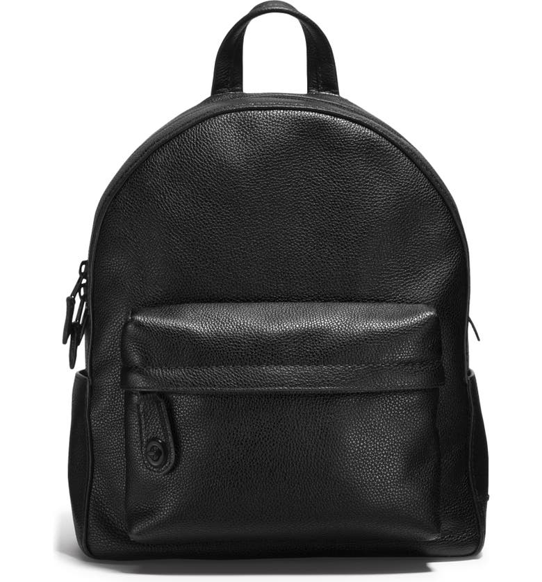 COACH Leather Backpack, Main, color, 001