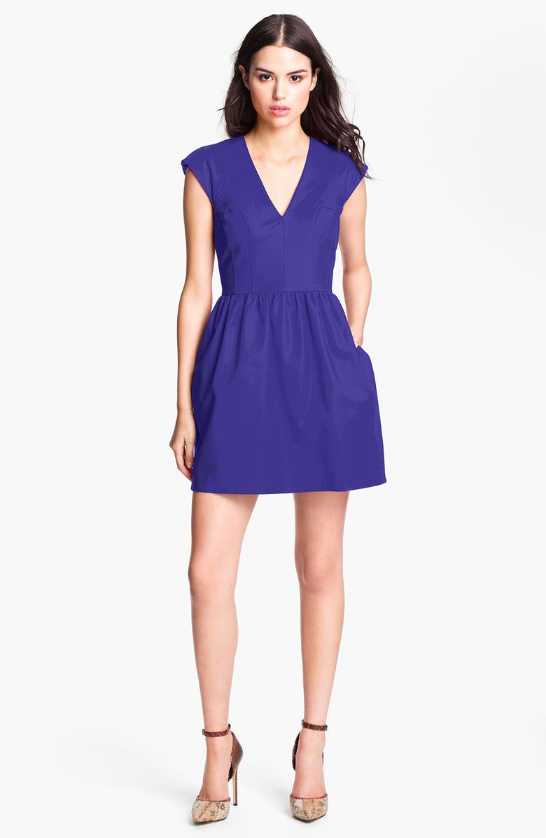 FRENCH CONNECTION V-Neck Cotton Fit & Flare Dress, Main, color, 527