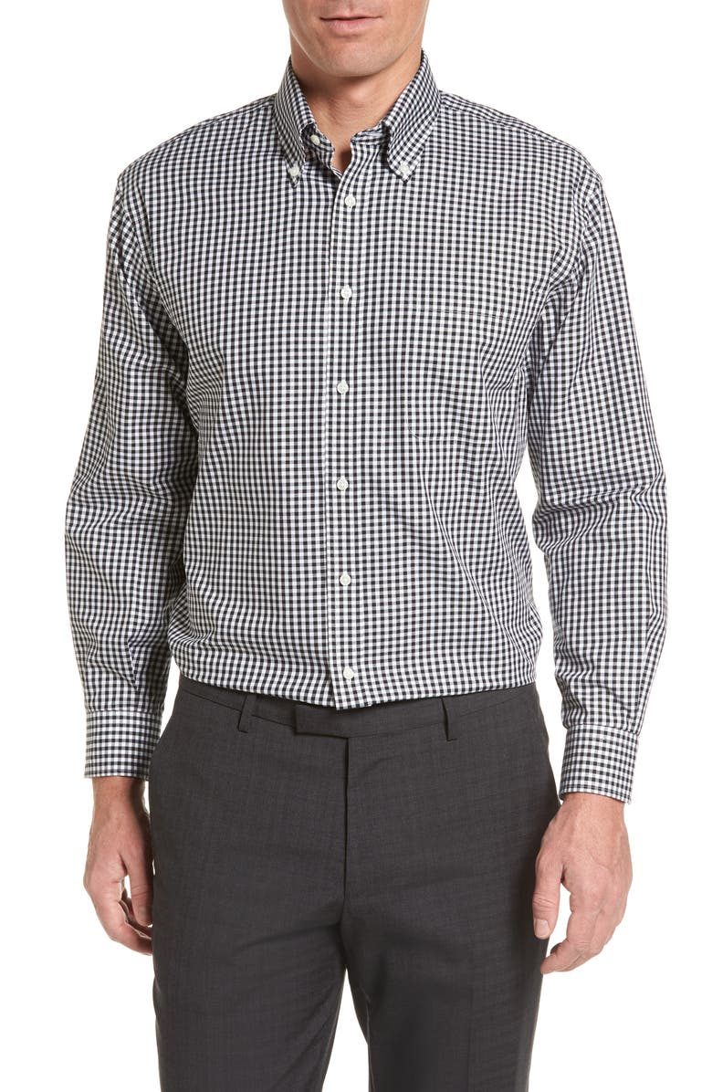 NORDSTROM Classic Fit Non-Iron Gingham Dress Shirt, Main, color, 001