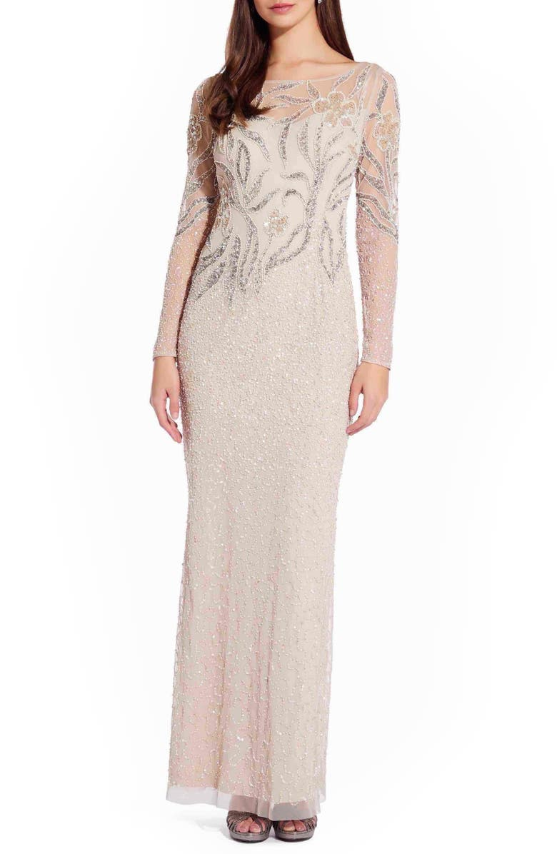 ADRIANNA PAPELL Long Sleeve Beaded Column Gown, Main, color, BISCOTTI