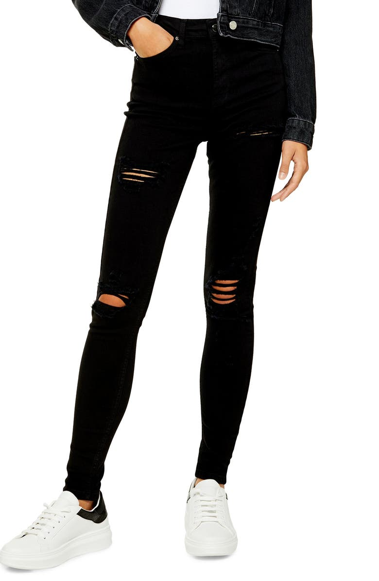 TOPSHOP Jamie Super Ripped Jeans, Main, color, 001