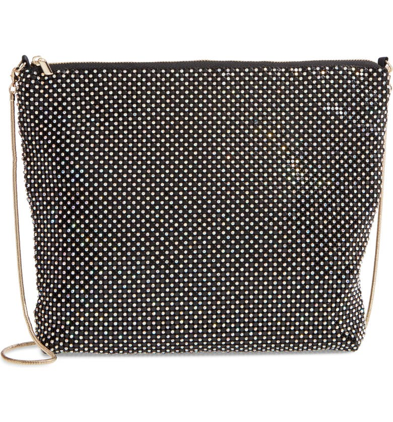 NORDSTROM Crystal Embellished Mesh Shoulder Bag, Main, color, 001