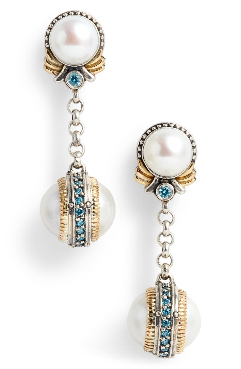 KONSTANTINO Thalia Double Pearl Chain Earrings, Main, color, SILVER/ PEARL