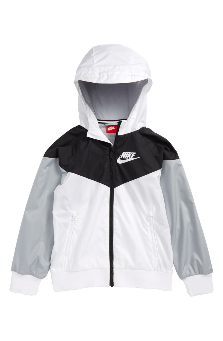 NIKE Windrunner Water Resistant Hooded Jacket, Main, color, WHITE/ BLACK/ WOLF GREY