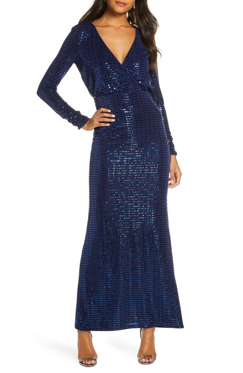 VINCE CAMUTO Sequin Stripe Long Sleeve Gown, Main, color, 410