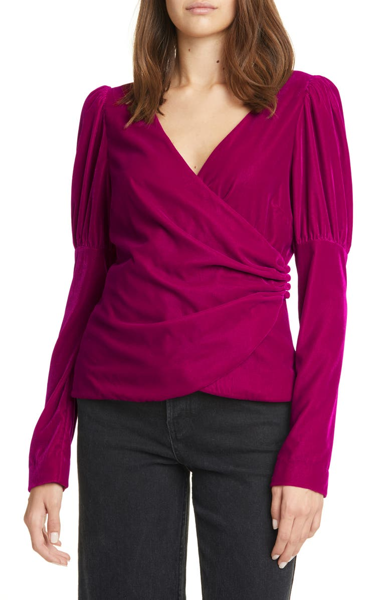 CINQ À SEPT Theo Velvet Wrap Top, Main, color, 690
