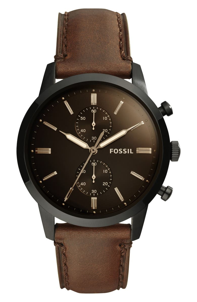 FOSSIL Townsman Chronograph Leather Strap Watch, 44mm, Main, color, 200