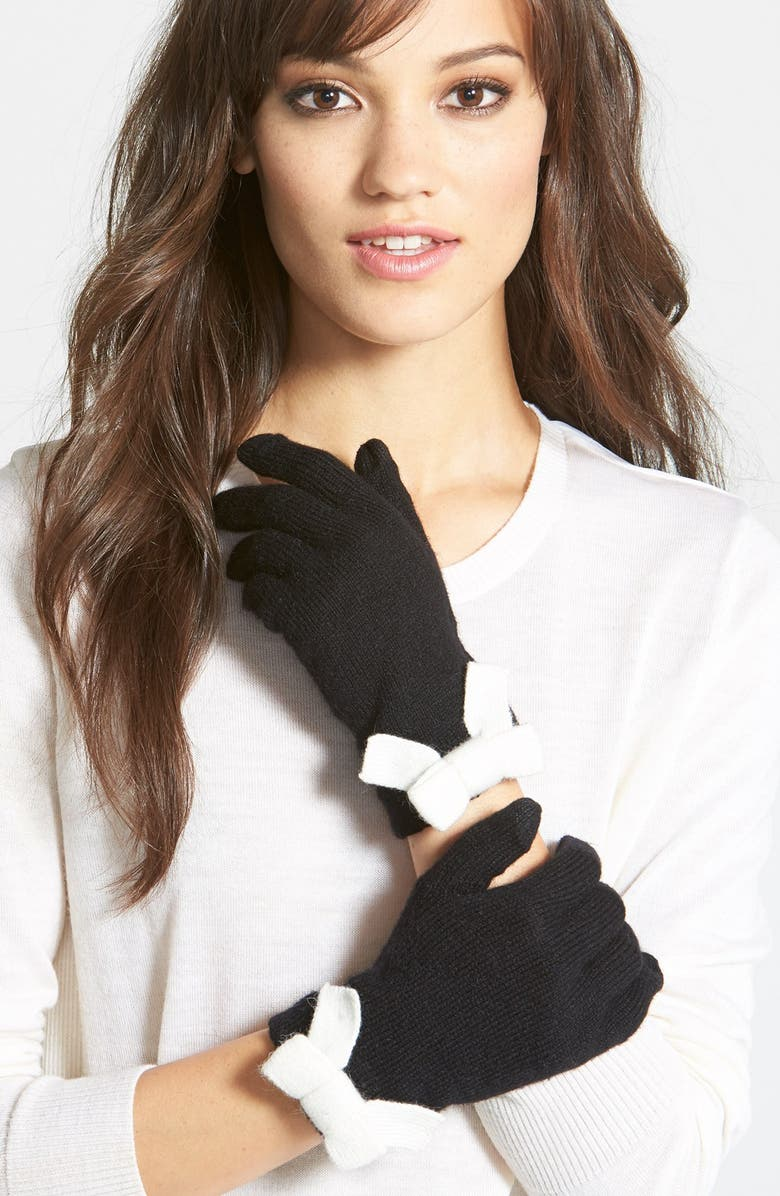 KATE SPADE NEW YORK bow gloves, Main, color, 017
