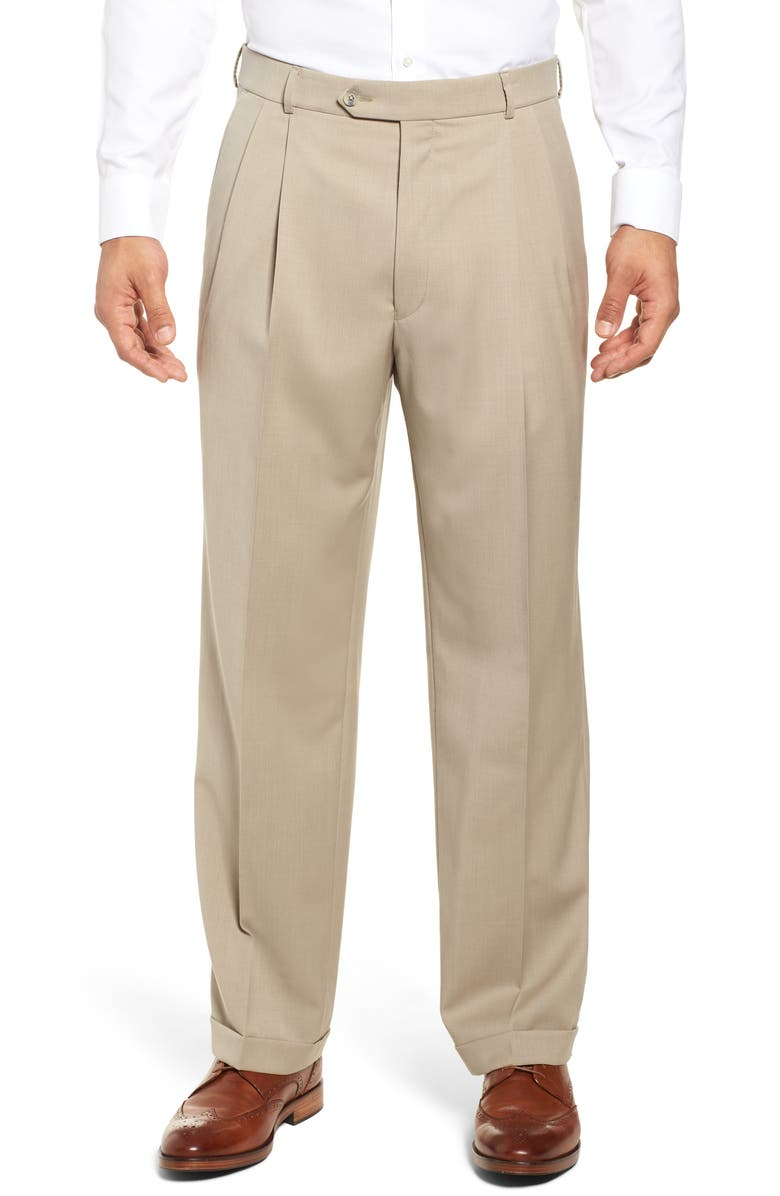 BALLIN Classic Fit Pleated Solid Wool Dress Pants, Main, color, 271