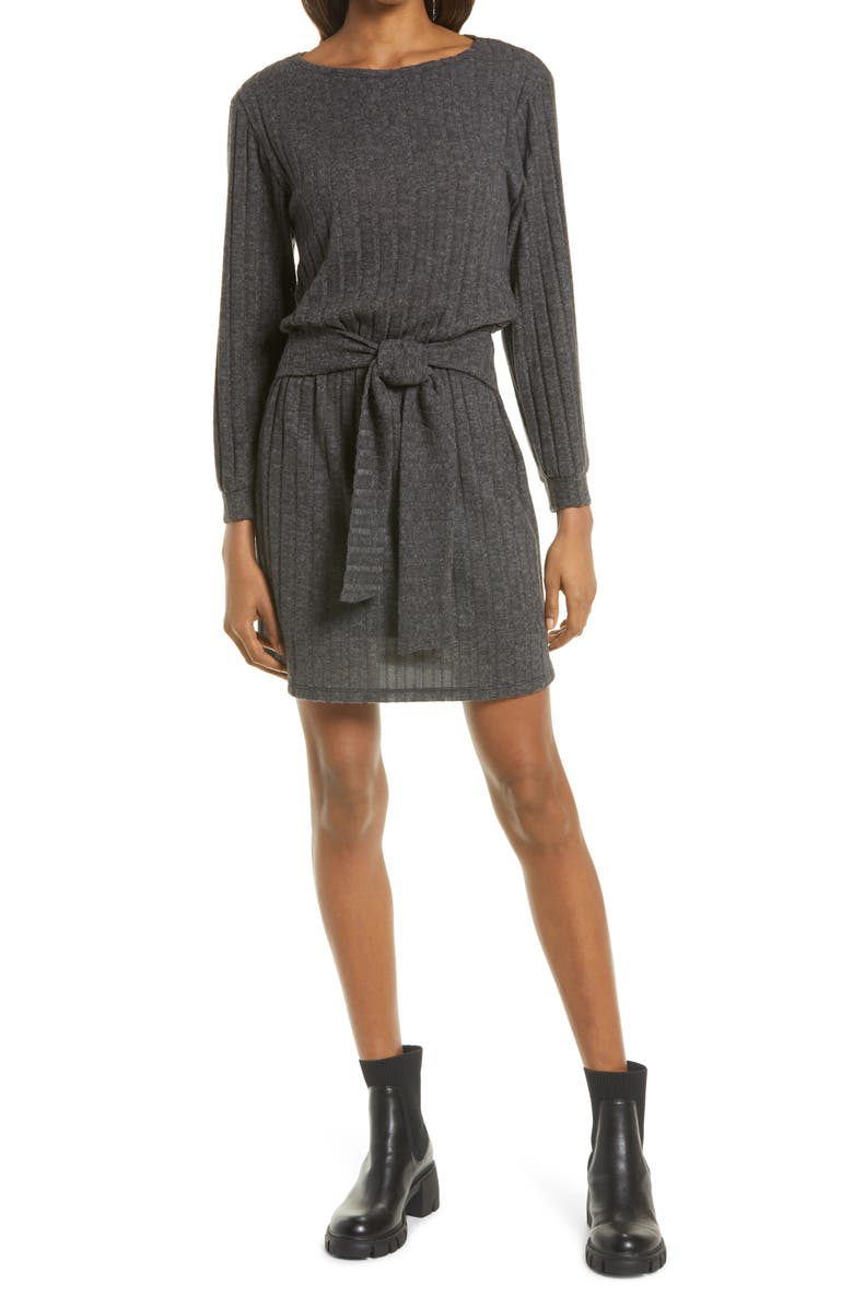 FRAICHE BY J Tie Front Long Sleeve Dress, Main, color, HEATHER GREY
