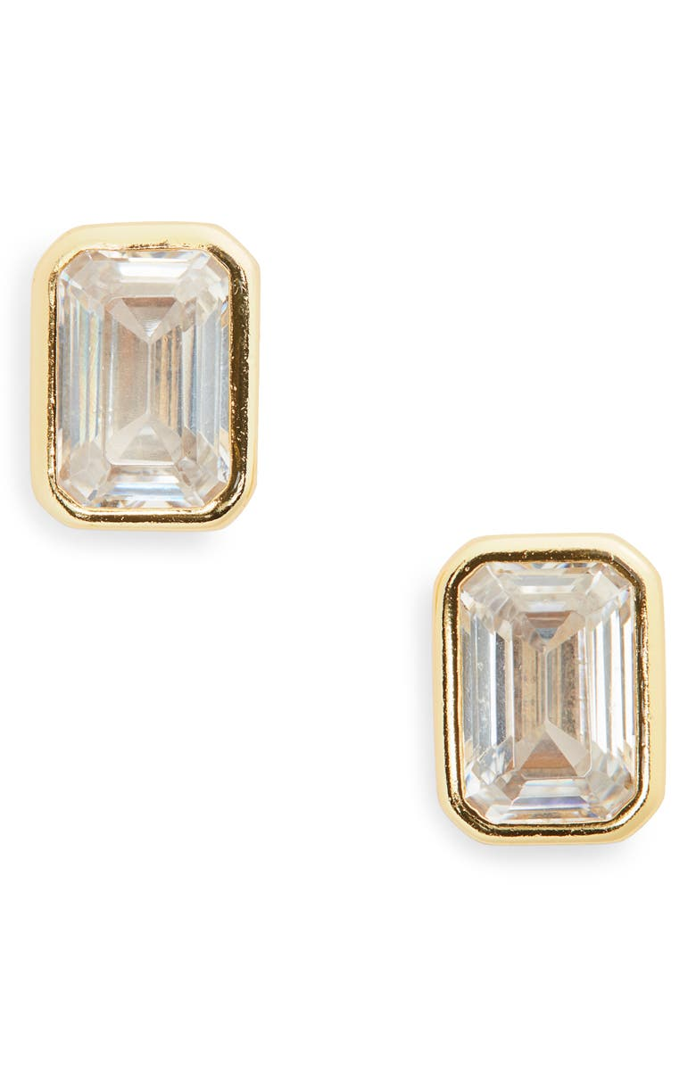 ARGENTO VIVO STERLING SILVER Emerald Cut Cubic Zirconia Stud Earrings, Main, color, GOLD/CLEAR