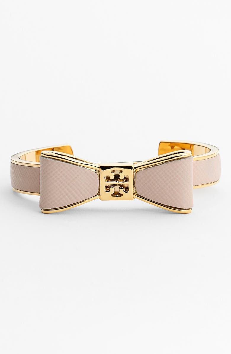 TORY BURCH Bow Leather Cuff, Main, color, 230