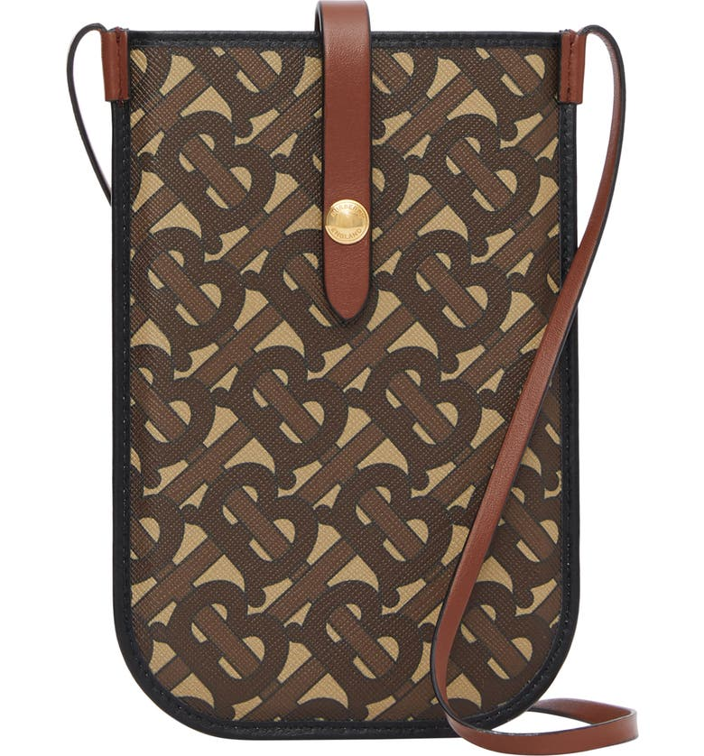 BURBERRY Anne Monogram Print E-Canvas & Leather Smartphone Crossbody Case, Main, color, 200