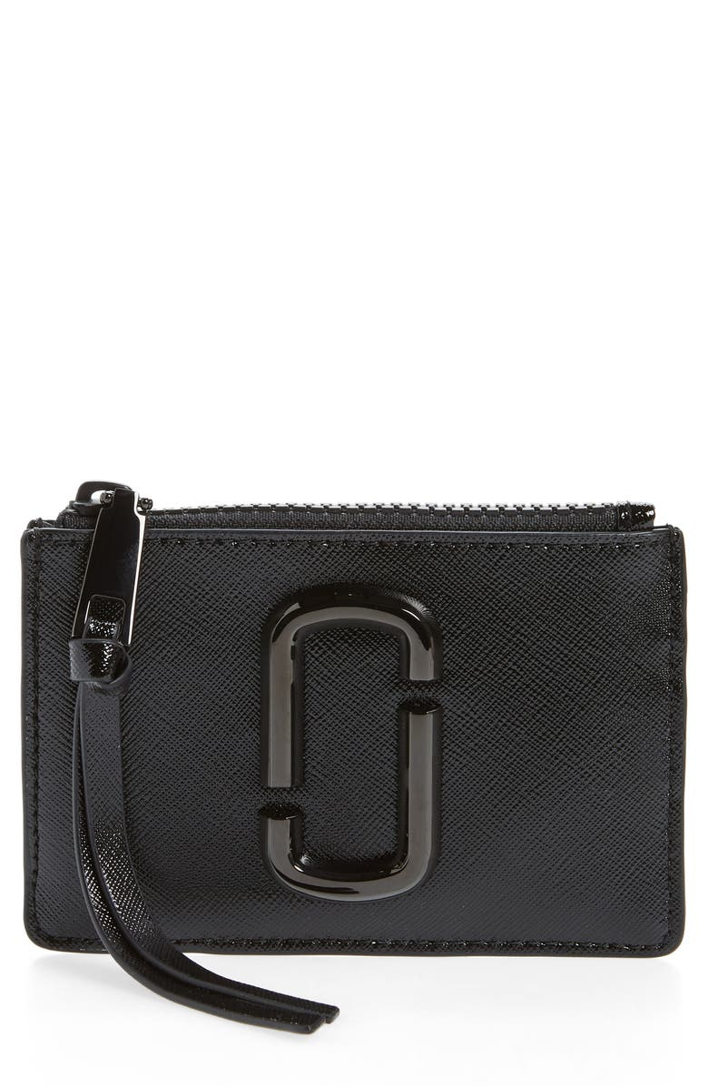MARC JACOBS Saffiano Leather ID Wallet, Main, color, BLACK