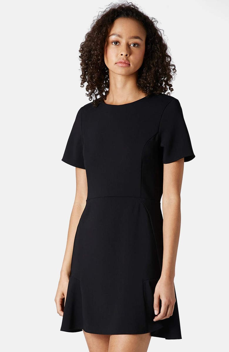 TOPSHOP Flared Crepe Dress, Main, color, 001
