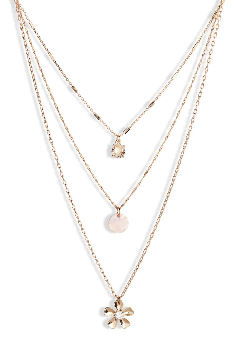 RACHEL PARCELL Layered Necklace, Main, color, CLEAR- WHITE- GOLD