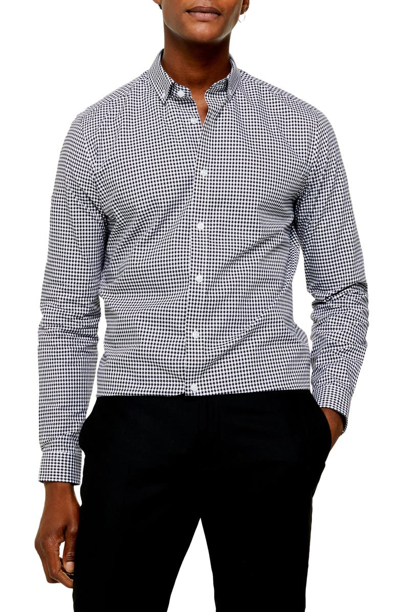 TOPMAN Slim Fit Gingham Check Button-Down Shirt, Main, color, 001