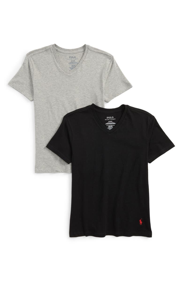 POLO RALPH LAUREN 2-Pack V-Neck T-Shirts, Main, color, ANDOVER HEATHER/ BLACK