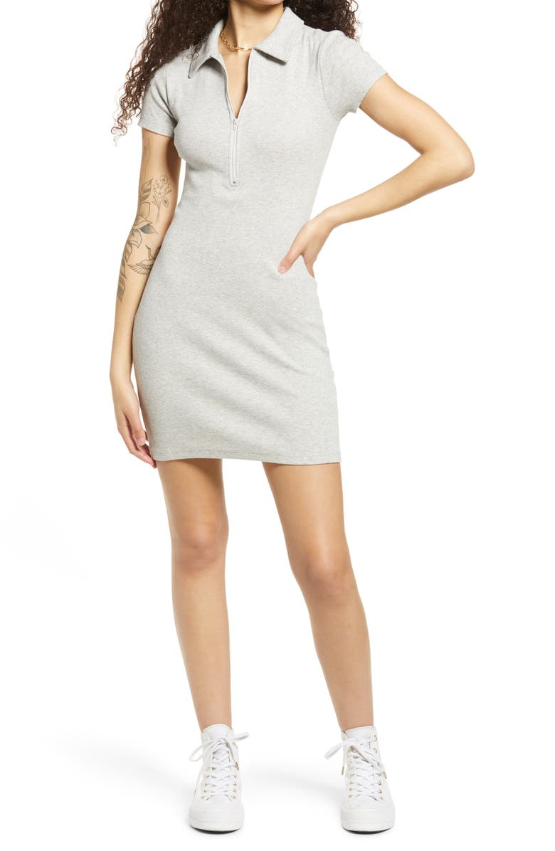 BP. Polo Rib Minidress, Main, color, GREY LIGHT HEATHER