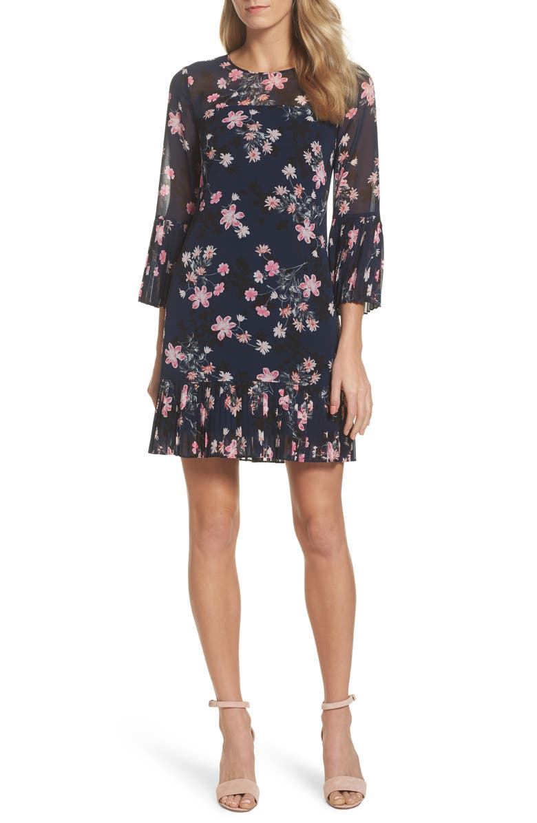 ELIZA J Floral Print Bell Sleeve Dress, Main, color, 410