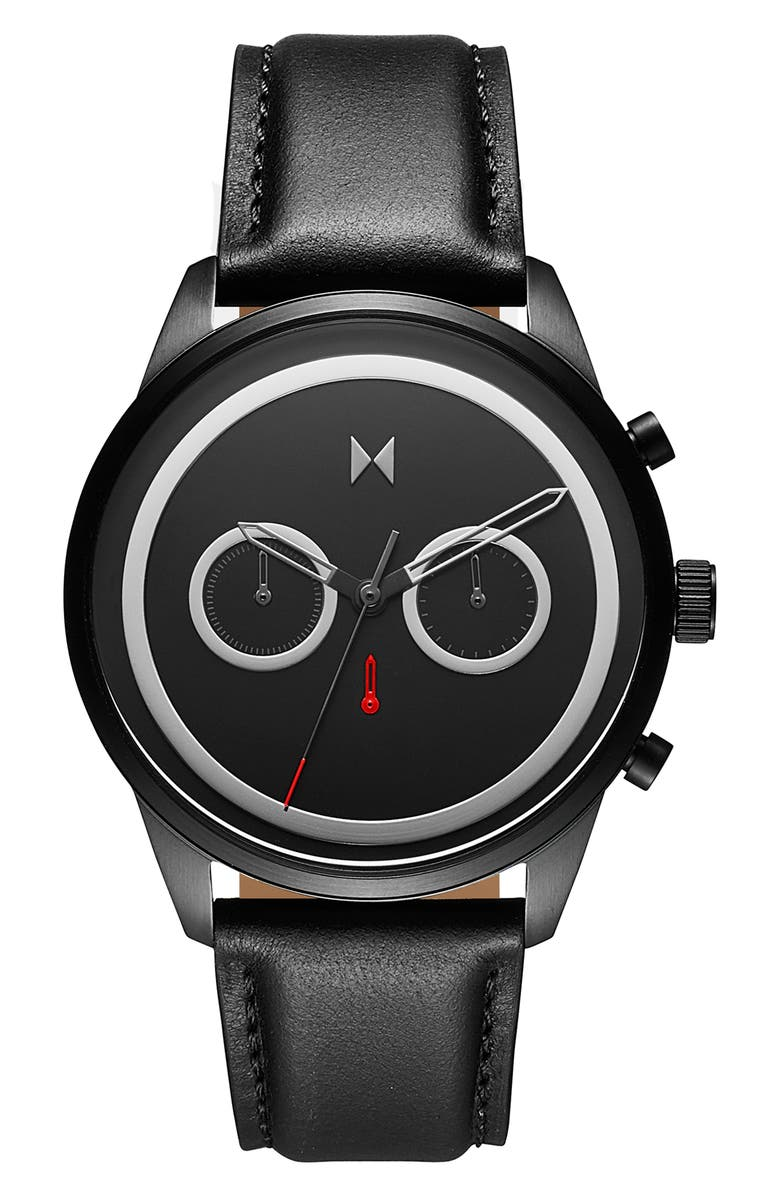 MVMT Sportluxe Chronograph Leather Strap Watch, 43mm, Main, color, BLACK