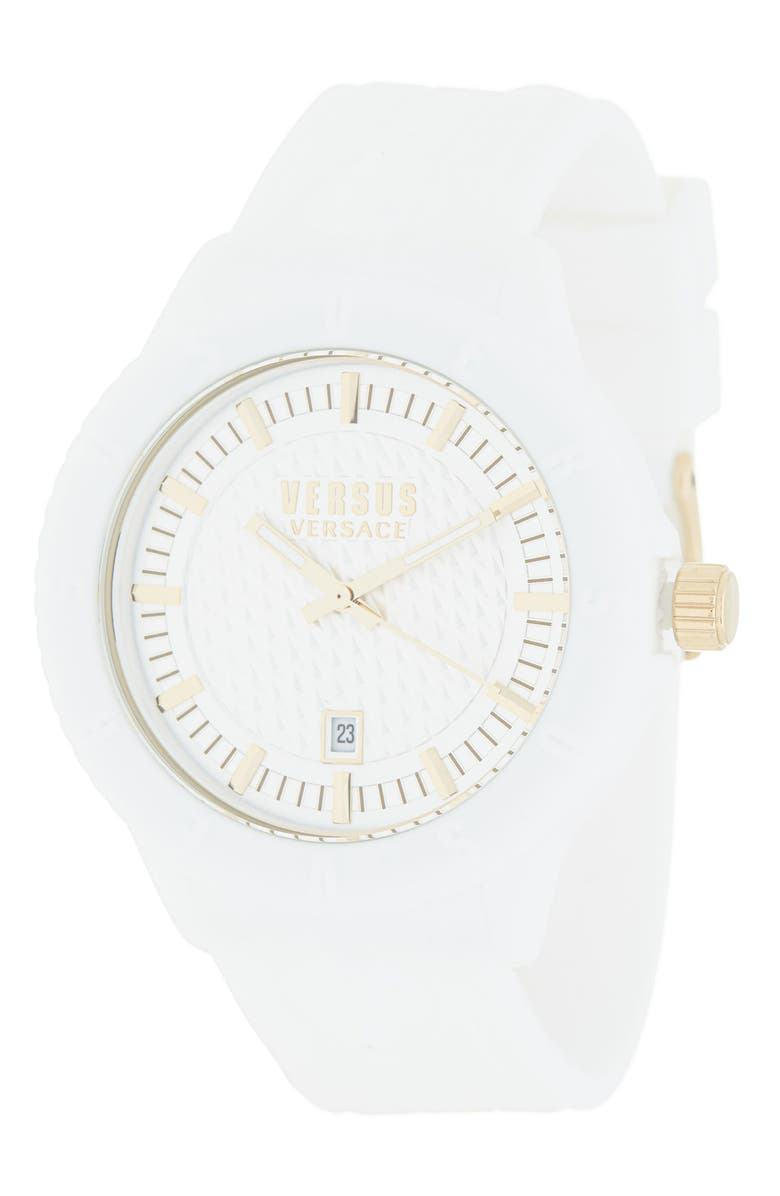 VERSUS VERSACE Men's White Dial Silicone Strap Watch, 42mm, Main, color, WHITE