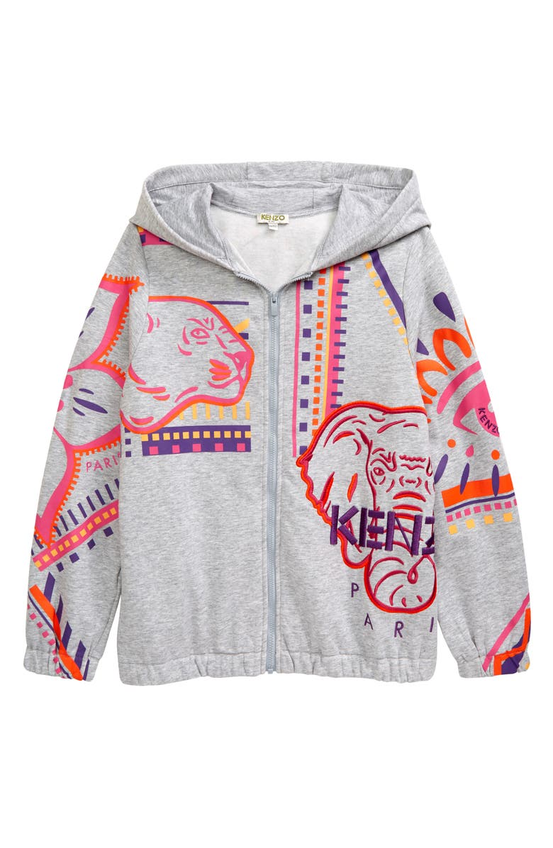 KENZO Kids' Graphic Hoodie, Main, color, MARL GREY