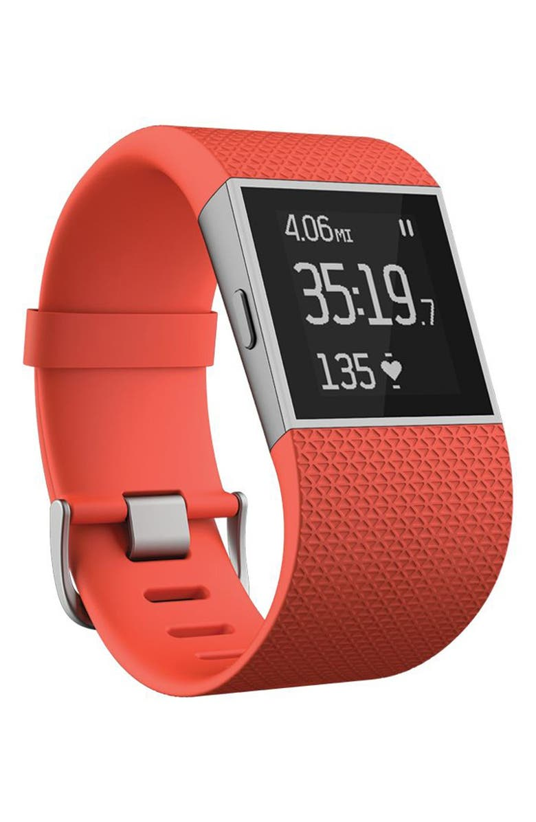 FITBIT 'Surge' Wireless Fitness Watch, Main, color, TANGERINE