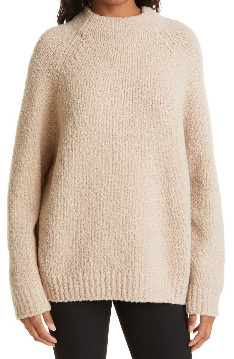 VINCE Funnel Neck Chunky Wool Blend Sweater, Main, color, BURLAP
