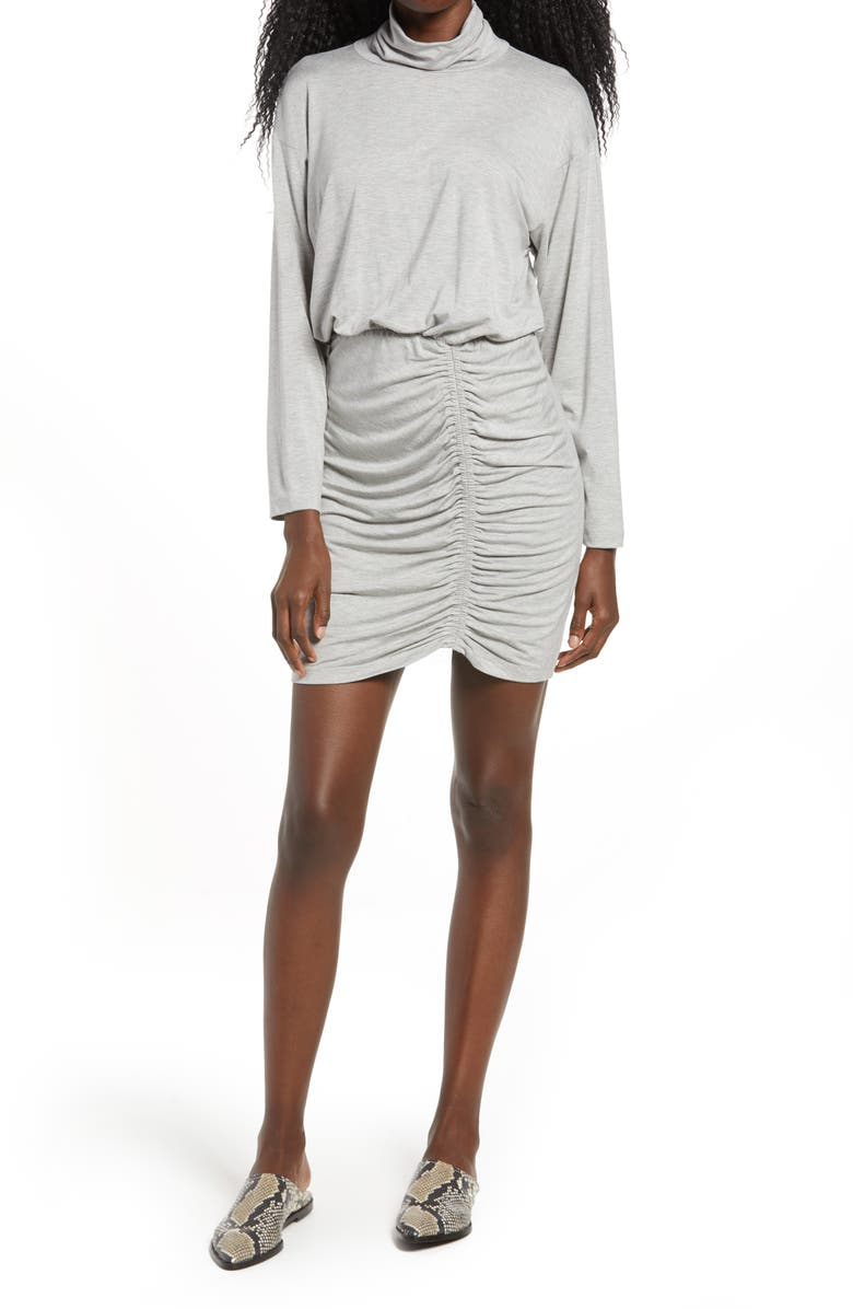 FRAICHE BY J Ruched Turtleneck Long Sleeve Dress, Main, color, HEATHER GREY